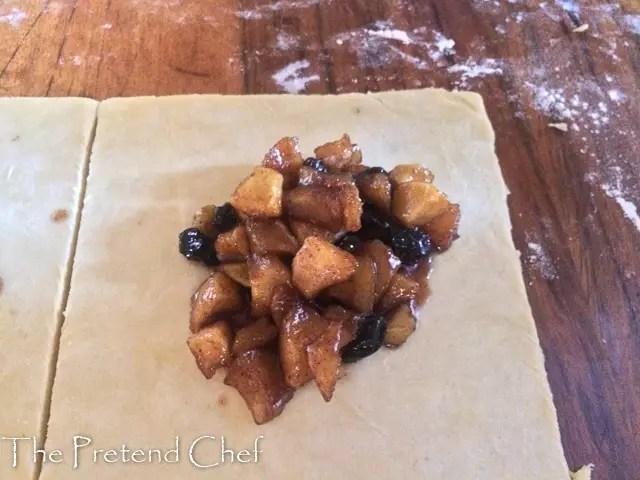 apple filling on dough for easy apple hand pie