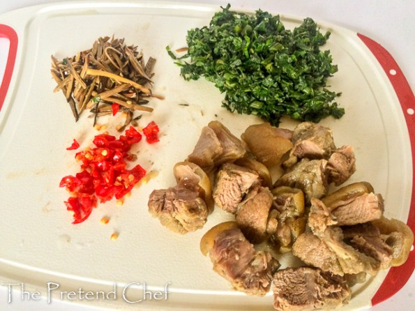 boiled goat meat for Bushmeat and vegetable