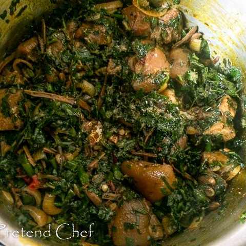 Bushmeat and vegetable cooking in a pot