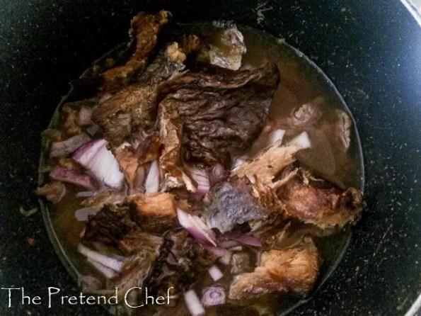 broth for Oto Mboro, Unripe plantain porridge