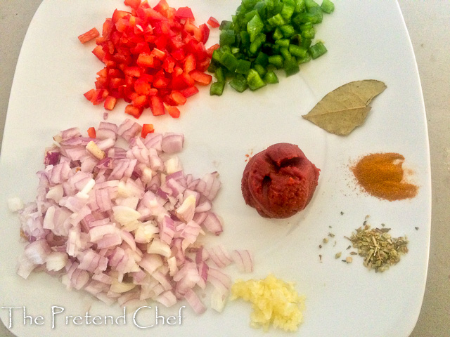 vegetables and spices for Minced beef empanada filling