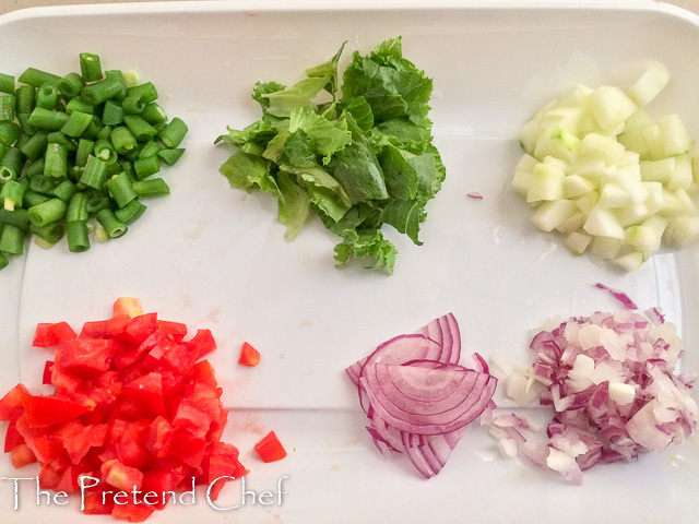 cut vegetables for Mixed Beans salad