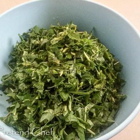 shredded green amaranth leaves