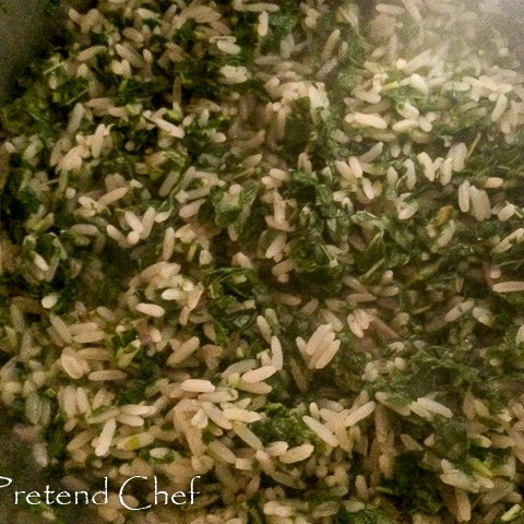Green leafy vegetable rice in a pot