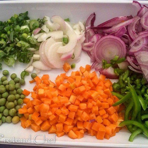 chopped vegetables for peppered mixed meat