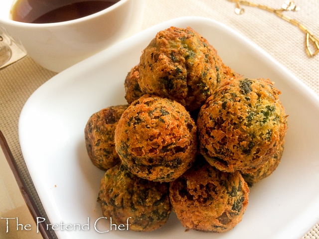 Crispy and light as air uncooked potato green vegetable balls