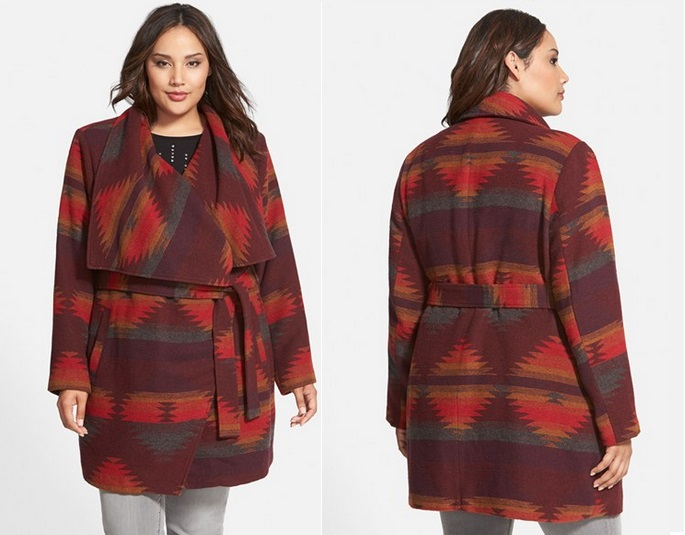 2e9626a5124 Nordstrom Anniversary Sale Gallery Steve Madden Aztec Blanket Wrap Coat  Plus Size  Nsale