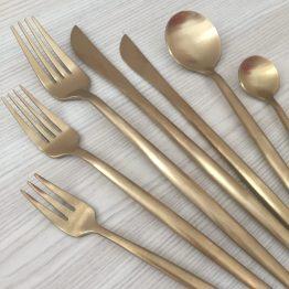matte gold cutlery hire new zealand