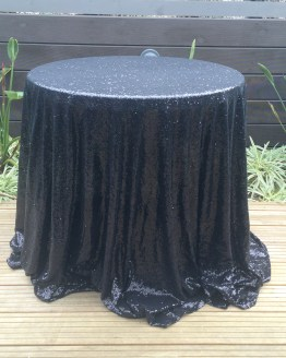 black sequin tablecloth hire