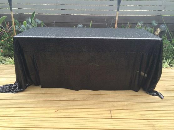 black sequin tablecloth hire nz