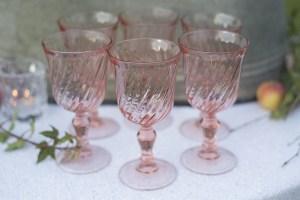 pink rosaline goblet hire