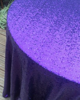 purple sequin tablecloth hire