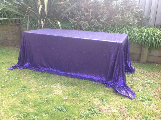 purple sequin tablecloth rental auckland