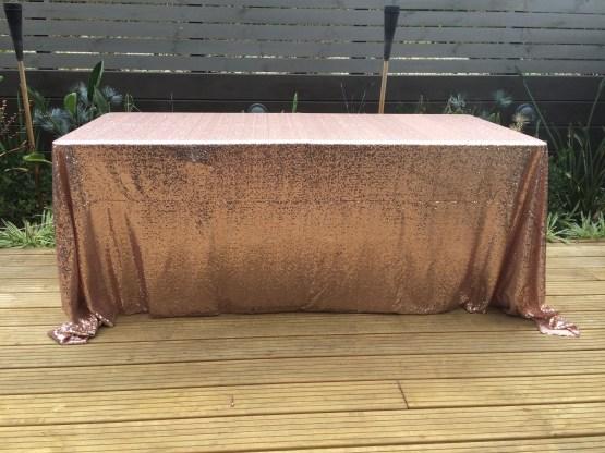 rose gold copper sequin tablecloth hire nz