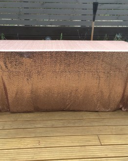 rose gold copper sequin tablecloth hire nz