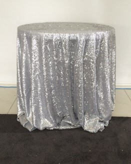 silver sequin tablecloth hire