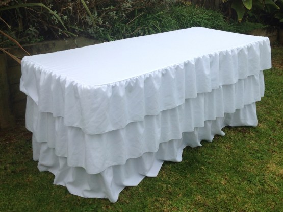 ruffle trestle tablecloth hire nz