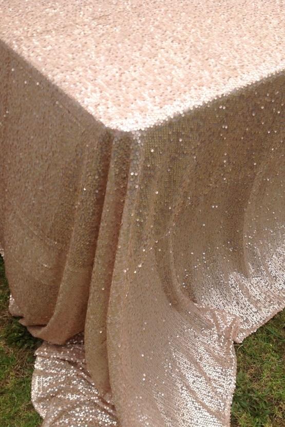 matte champagne sequin tablecloth hire