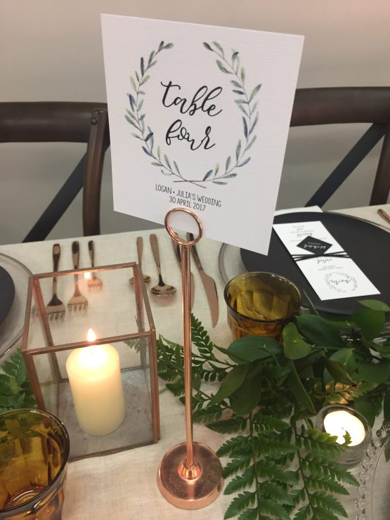 rose gold table number hire nz