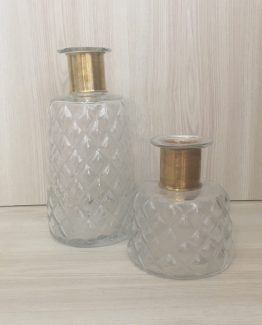glass and brass vase hire