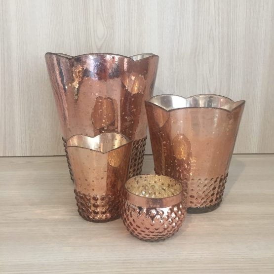 rose gold mercury glass