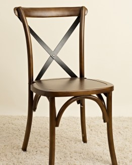brown stain crossback chair hire auckland