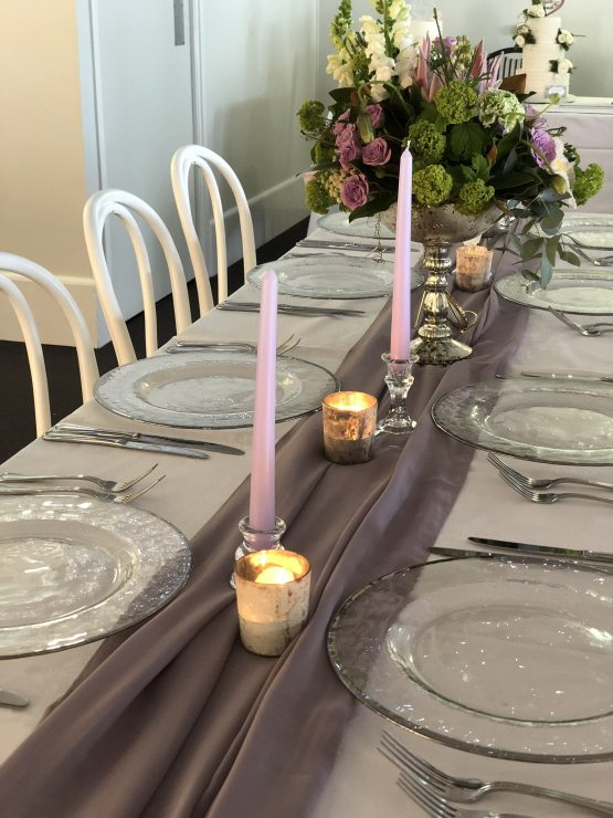mauve chiffon table runner hire nz