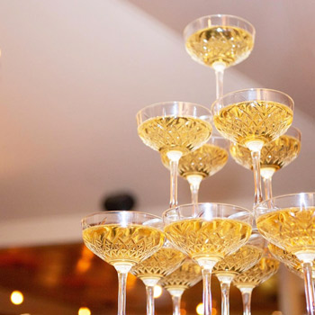 etched champagne glass hire nz