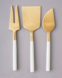 white and gold cheese knife hire nz