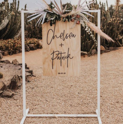 hire wedding signage stand nz