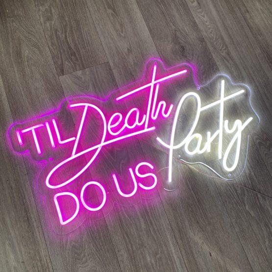til death do us party sign hire auckland