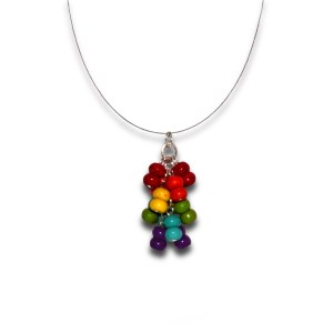 Rainbow Heishi Stone Cluster Wire Necklace