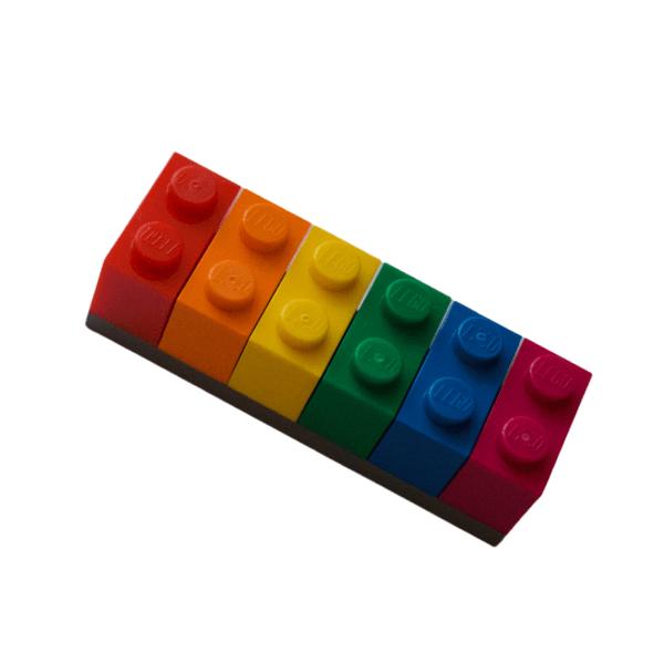 rainbow lego brick fridge magnet