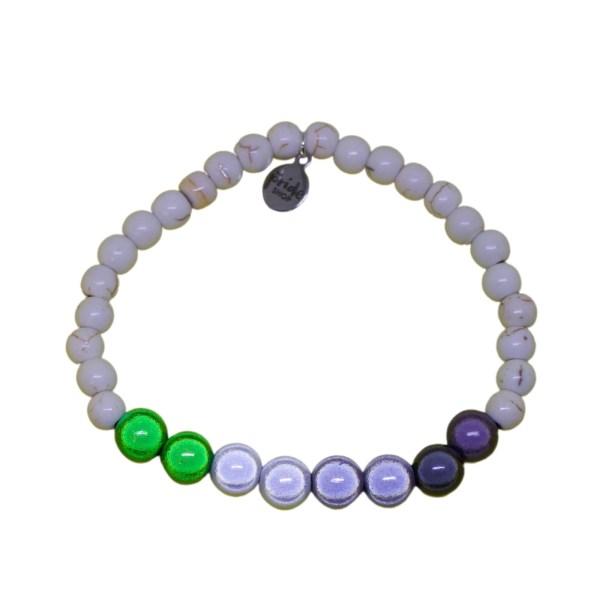 white stone bracelet with aromantic holographic set