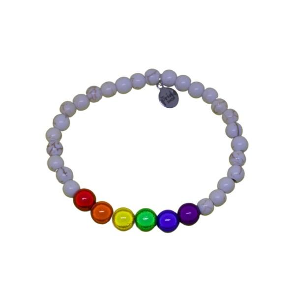 white stone bracelet with rainbow holographic set