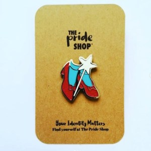 Wizard Of Oz Ruby Slippers Glitter Pin Badge