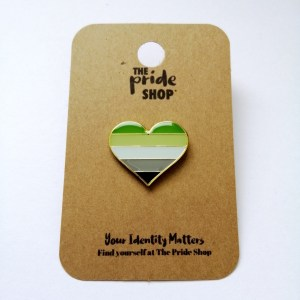Aromantic Flag Heart Pin Badge