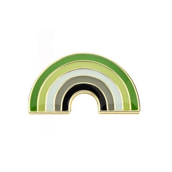 Aromantic Rainbow Pin Badge