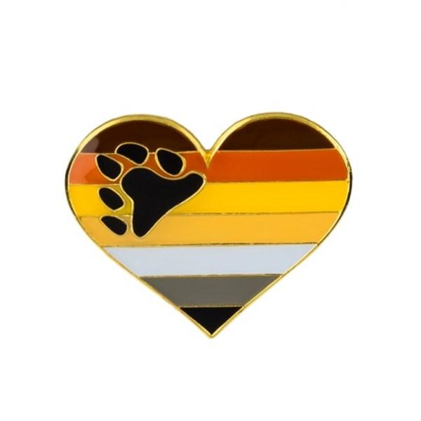Bear Flag Heart Pin Badge