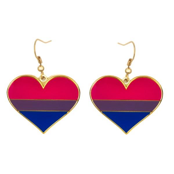 Bisexual Pride Flag Heart Shape Earrings