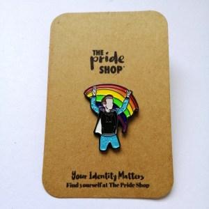 Rainbow Flag Waving Glitter Pin Badge