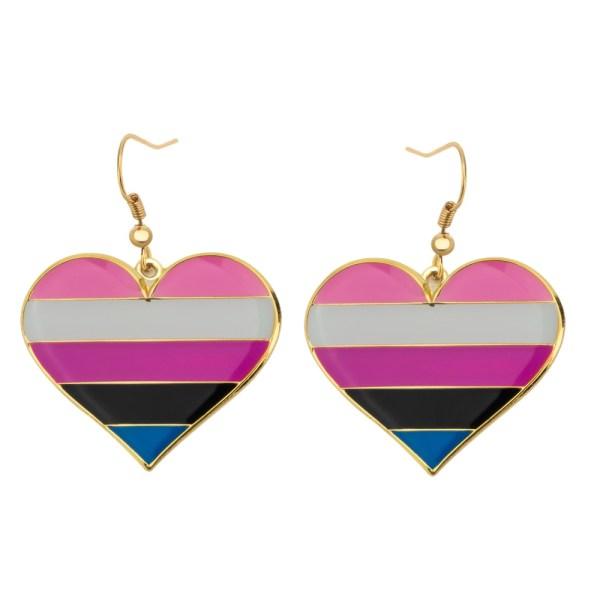 Gender Fluid Pride Flag Heart Shape Earrings