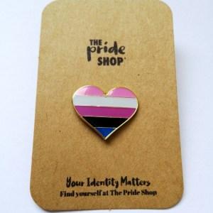 Gender Fluid Flag Heart Pin Badge