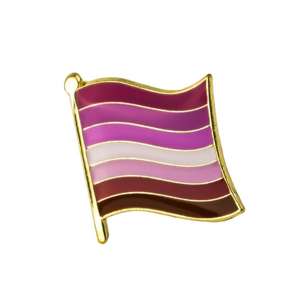 Lesbian Waving Flag Pin Badge