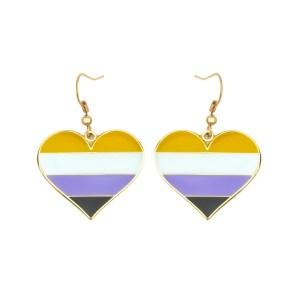 Non Binary Pride Flag Heart shape Earrings