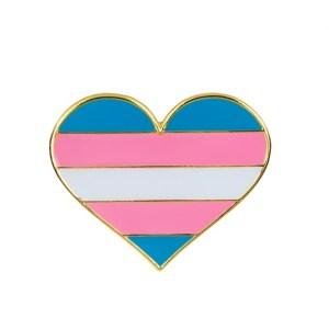 Transgender Flag Heart Pin Badge