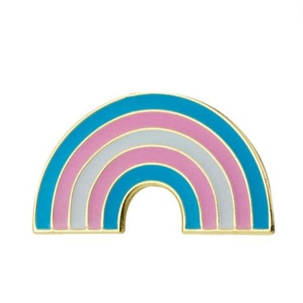 Transgender rainbow pin badge