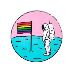 rainbow flag on the moon pin badge