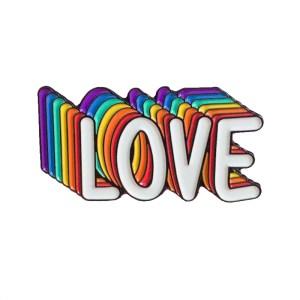 Rainbow Love white pin badge