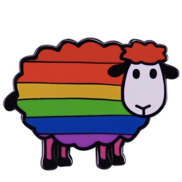rainbow sheep of the family pin badge